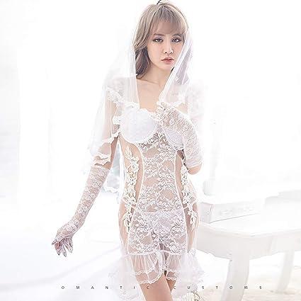 7e65655f9 Amazon.com   Women Racy Lingerie Wedding Night Dress Fishtail Skirt Virgin  First Night Bride Veil Wedding White Lace Underwear Veil Mantilla   Sports    ...