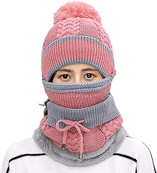 Pink Sikye Women Winter Hairball Beanie Hat Acrylic Fiber Thermal Ski Cap,Earmuffs,Scarf,Face Mask 4 in 1 Ideal for Outdoor