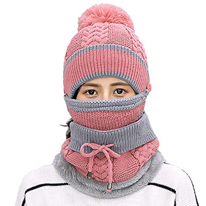 98b497e9557 Amazon.com  EnjoCho Clearance Sale! Adult Women Men Winter Earmuffs Knit  Hat Mask Scarf Hairball Warm Cap (Pink-6)  Office Products