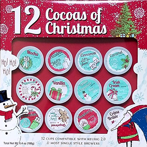 12 Cocoas of Christmas - 12 K Cups - Premium Holiday Cocoa - Gift Set