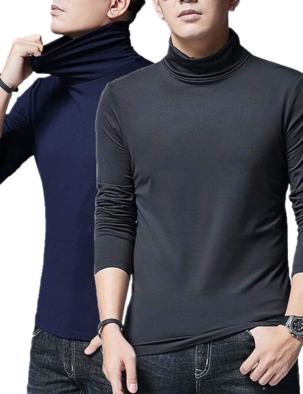 YSE Men/'s Long Sleeve Half High Neck T-Shirts Pack of 2