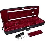TMS New Black 4/4 Enhanced Violin Case w/ Built-in Hygrometer & Carry Straps