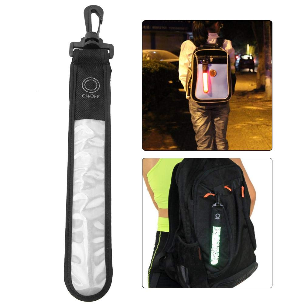 Silver White LED Reflective Stripe Outdoor Sport LED Reflective Stripe Pendant with Battery for Night Running Mountaineering
