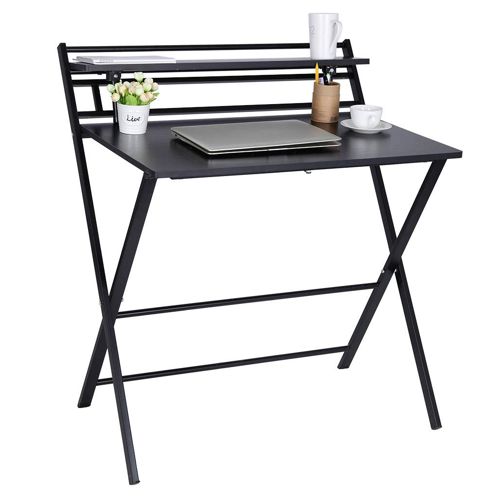 Stable Folding Study Computer Desk for Small Space Home Office Desk Simple Laptop Writing Table Save Place Easy to Move (Khaki)