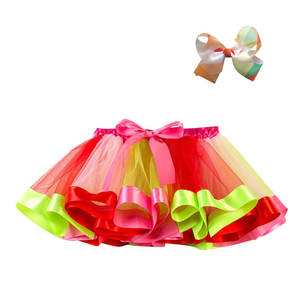 Kobay Baby Girls Skirts, Kids Tutu Party Dance Ballet Toddler Baby Costume Skirt+Bow Hairpin Set Performance Skirt