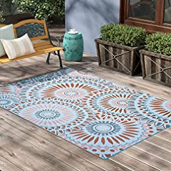 Garden and Outdoor SMM005 Reversible Outdoor Plastic Rugs,Easy to Clean Patio Mat, Perfect for Picnics, Cookouts, Camping, and The Beach… outdoor rugs