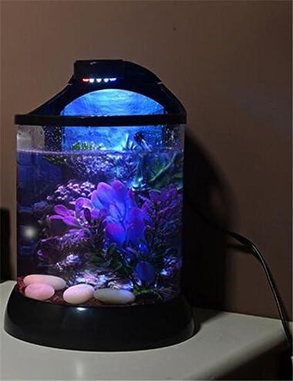 YANFEI 10L pequeño acuario de acuario de escritorio pequeño acrílico creativo de plástico transparente tanque de