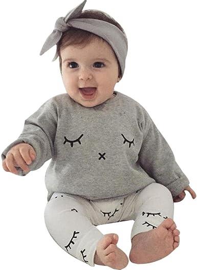 Infantil Bebé Niño niña Cute pestañas de impresión Camiseta Tops + Pantalones Trajes Ropa: Amazon.es: Ropa y accesorios