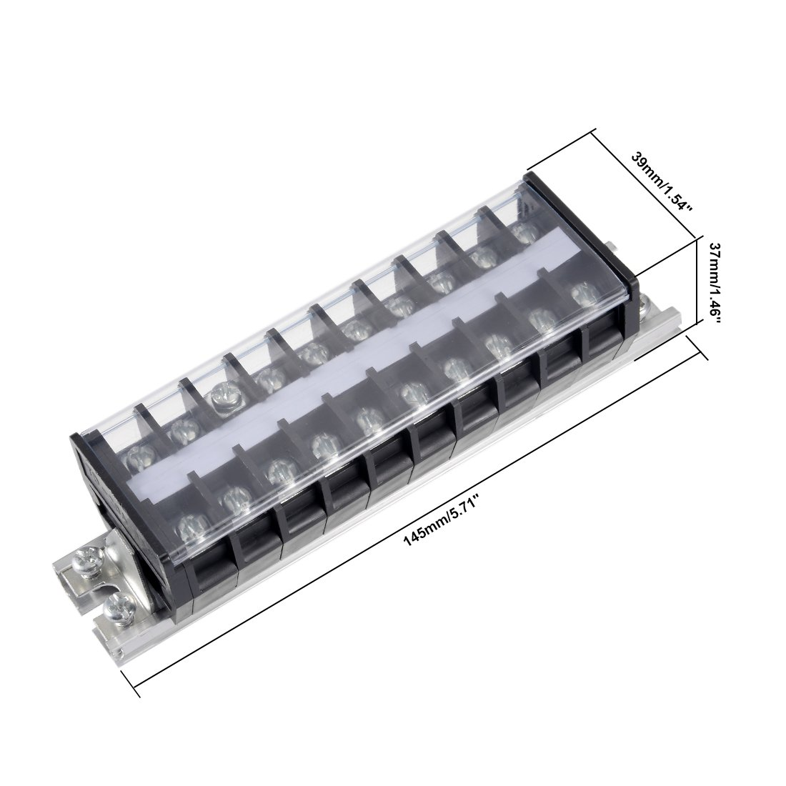 uxcell/® Dual Rows 12 Positions 600V 15A Wire Barrier Block Terminal Strip TB-1512L
