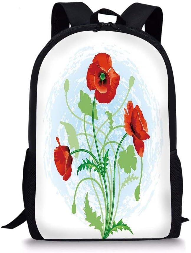 School Bags Floral,Poppy Flowers Bouquet Meadow Beauty Rural Petal of Fragrance Image,Scarlet Fern Green Pale Blue for Boys&Girls Mens Sport Daypack