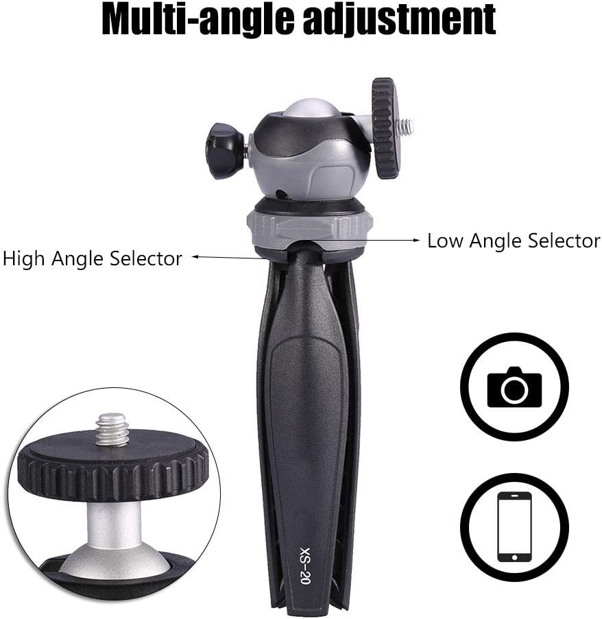 Mini Camera Tripod,Ball Head Tripod XILETU Mini Tabletop Tripod with Detachable 360/° Rotation Ball Head for Digital Camera Phone,Monopod Time-Lapse Photography Stand,Portable Folding Gimbal Tripod