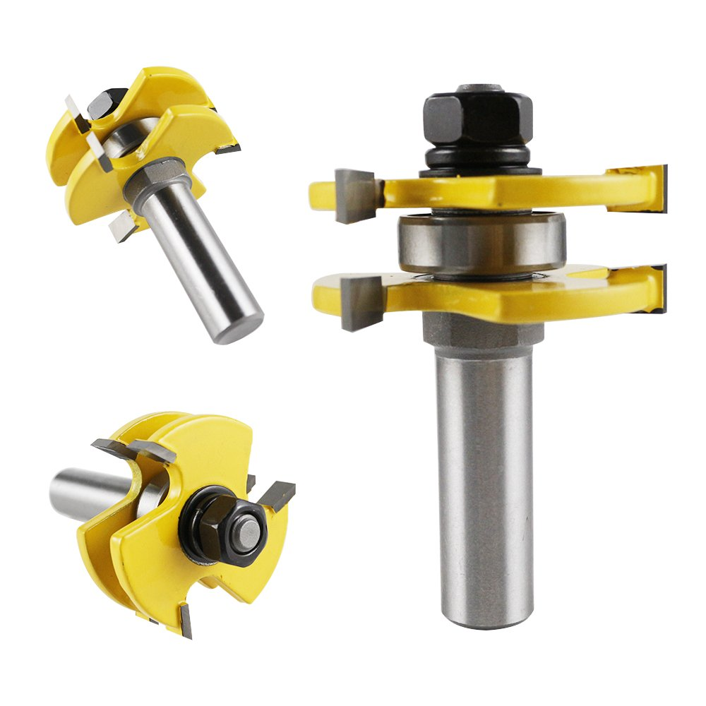 Tongue and Groove Set,Router Bit Set 1/2 Inch Shank T Shape Adjustable 3 Teeth Wood Milling Cutter Woodworking Tool For Door Table Cabinet Shelve Wall DIY Woodwork by RYF (Image #4)