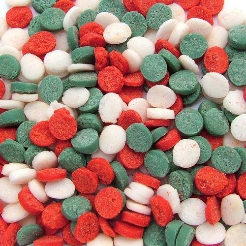 Natural Green,Red & White Gluten GMO Nuts Dairy Soy Free confetti Christmas Sequins Bulk Pack.  by Quality Sprinkles
