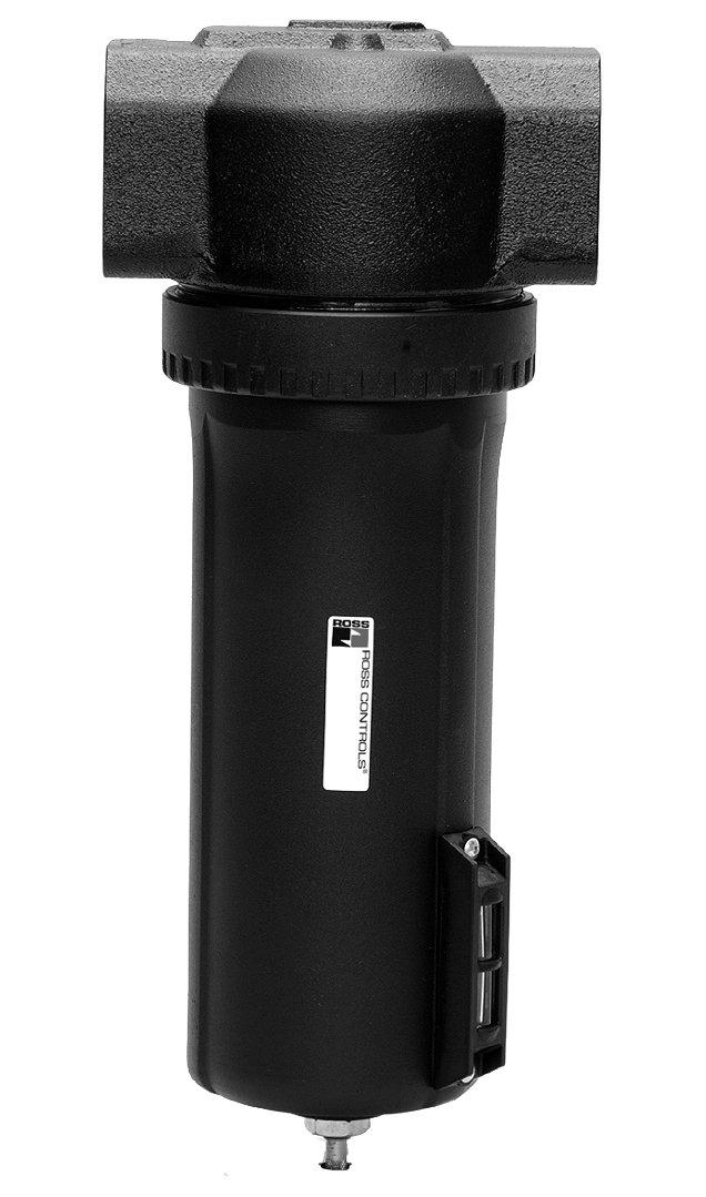 Ross Controls 5021B5008 High Capacity Series Filter, Auto Drain, Polycarbonate Bowl, 5 µm Polyethylene Filter, No Gauge, Threaded Ports 3/4'' NPT