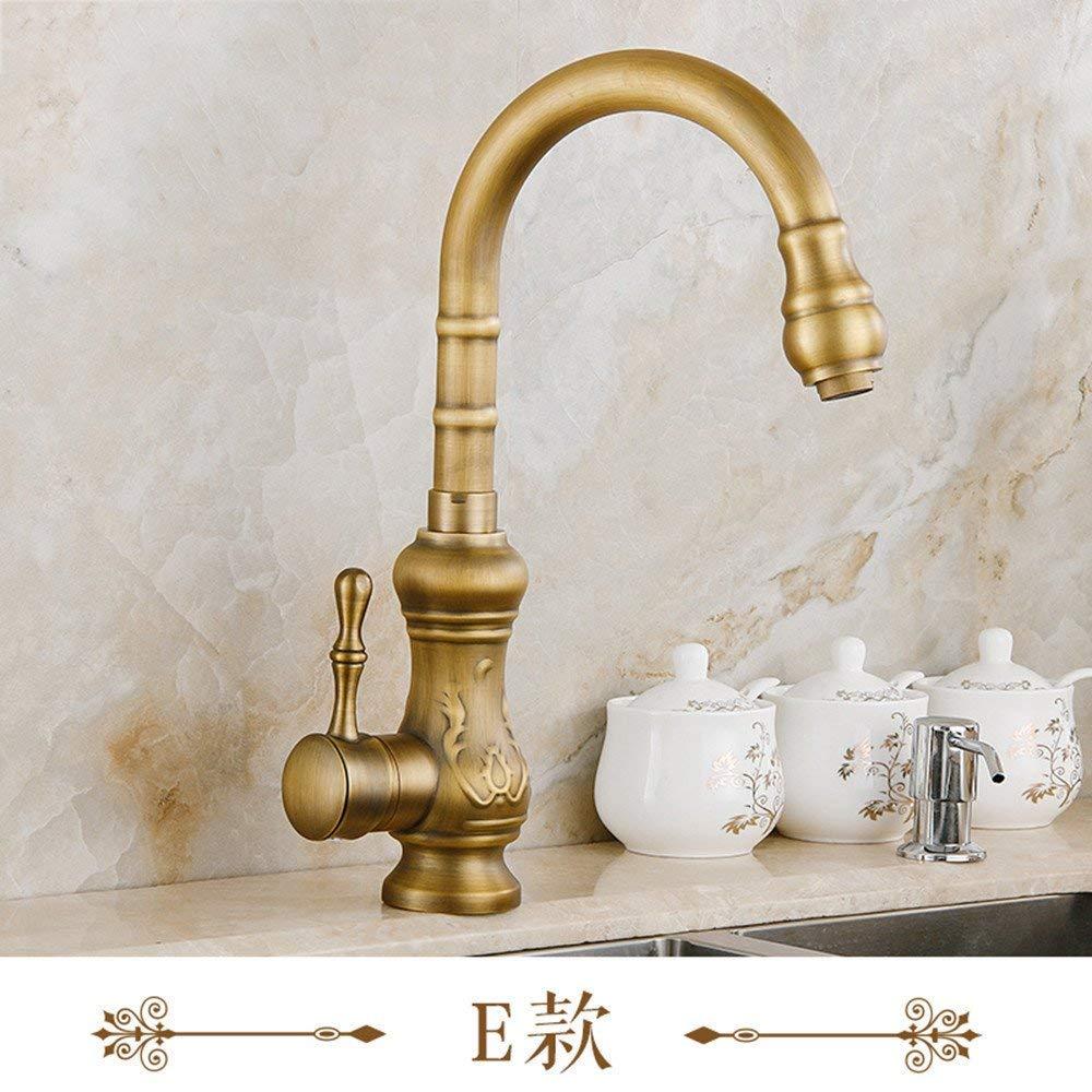 Eeayyygch Wasserhahn Bronze Wasserhahn heiße und kalte Küchenarmatur Einlochmontage Schwenker Wasserhahn Keramik Disc Patrone D (Farbe   E)