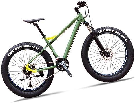 Bicicleta de montaña Hardtail Fat Tire de 26 pulgadas para adultos Hombres Mujeres 27 Suspensión delantera de velocidad Bicicleta de montaña con freno de disco hidráulico doble Todo terreno-Verde: Amazon.es: Deportes y