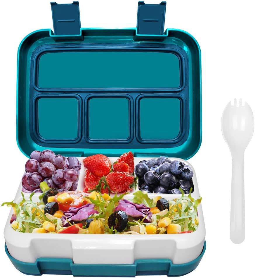Frebw Kids Bento Lunch Box, Eco-Friendly Durable Leakproof Toddlers Bento Box with 5-Compartments On-the-Go Meal and Snack Packing Bento Box for Children Toddlers, Blue