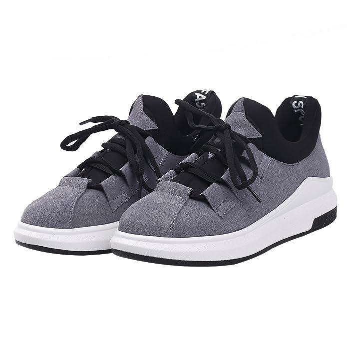 Shenn Damen Plattform Schnüren Laufen Beiläufig Wildleder Leder Sneaker Schuhe 2609X(Grau,EU35)
