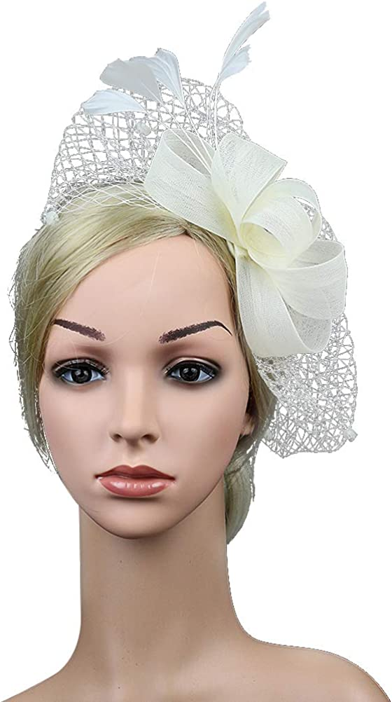 FENICAL Bowknot Feather Fascinator Hair Clip Wedding Cocktail Party Veil Fascinator Hat Mesh Net White