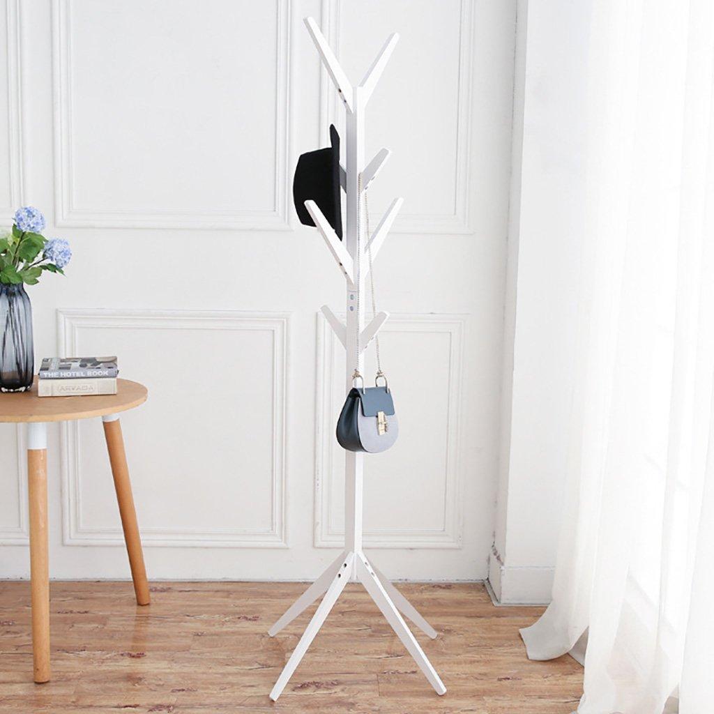 YMJ Perchero Árbol creativo simple piso de estante de madera sólida piso de la sala de estar ropa de dormitorio estante del bolso del estante que cuelga la ropa Perchero de pared (Color : Blanco) HYXY