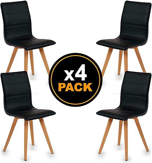 TENDENCIA UNICA Pack 4 sillas de Comedor con tapizado de Polipiel ...