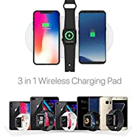 elegantstunning 3 in1 Qi Wireless Charger Pad Fast Charging for Watch iWatch i-Phone XS X