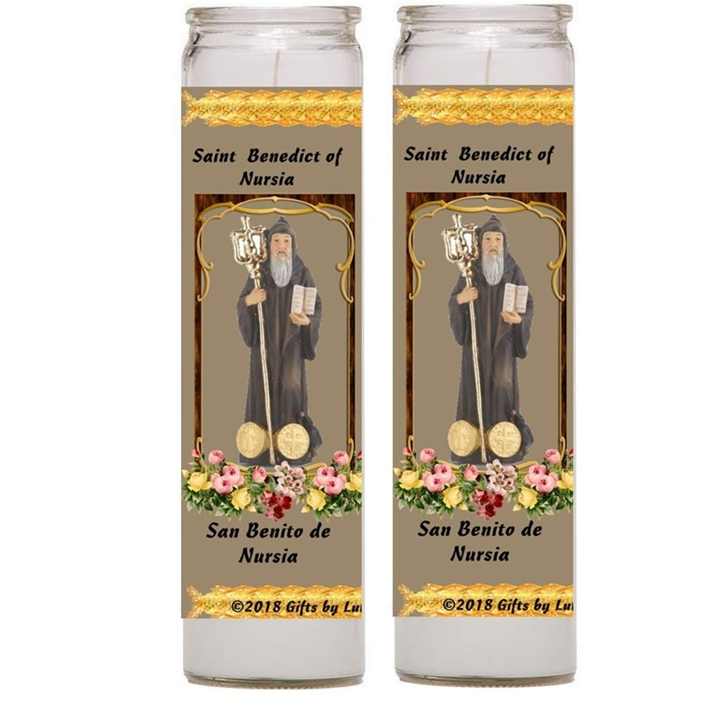 Gifts by Lulee, LLC Benedict Nursia San Benito Set Two Four Candles Set de Dos o Cuatro Velas Prayer in English Spanish (Two)