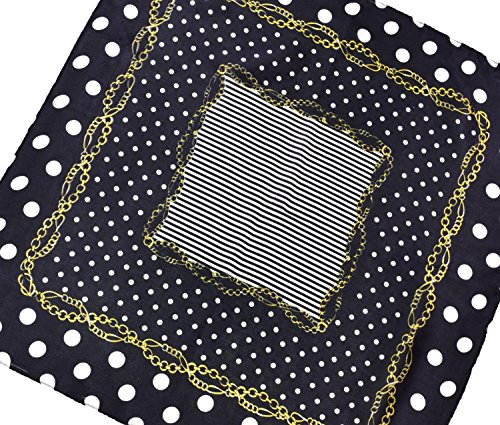 Black White Gold Spotted Printed Fine Small Square Silk Scarf by Bees Knees Fashion (Image #2)