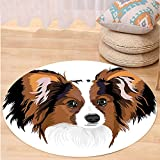 VROSELV Custom carpetAnimal Decor Cute Smart Adorable Best Friend Dog Movie Pet Cartoon Artwork Image for Bedroom Living Room Dorm Cinnamon Black White Round 79 inches