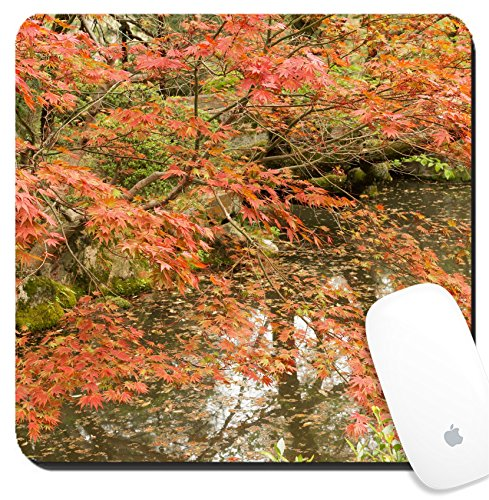 Luxlady Suqare Mousepad 8x8 Inch Mouse Pads/Mat design IMAGE ID 31354708 Red maples planted on the shore and reflection in a Japanese garden near Heian - Heian Shrine Garden