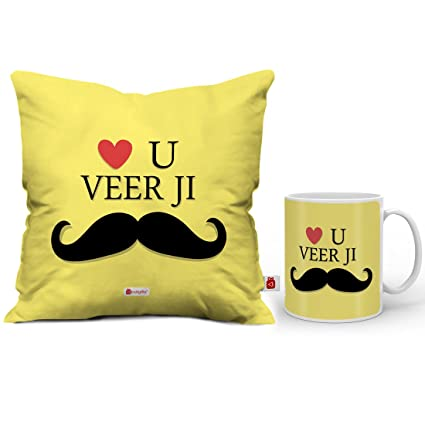 9b1d5017ac4 Buy Indigifts Raksha Bandhan Gifts for Brother Love You Veer Ji Quote  Ceramic Coffee Mug 330 ml & Cushion Cover 12x12 Inch with Filler, Yellow  Online at Low ...