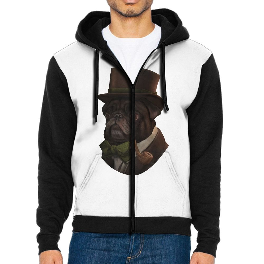 STWr Gentleman Pug With Hat Men Long Sleeve Full-Zip Hoodies For Men