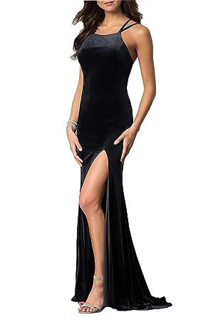 7f7d01cbc6a0 CCBubble Womens Long Velvet Mermaid Prom Dresses Spaghetti Straps Formal  Evening Party Gowns Black-2