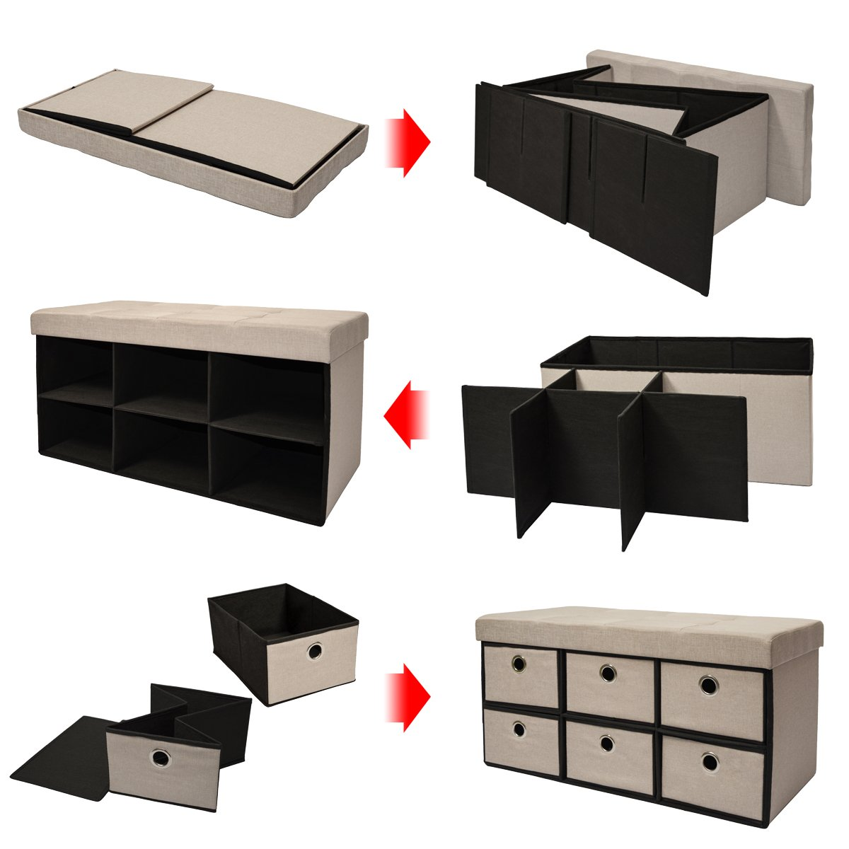 DuneDesign folding Ottoman 76x38x38cm 6 drawers 80L rectangular Storage Bench upholstered lid seat for 2 container to store objects Dark Brown