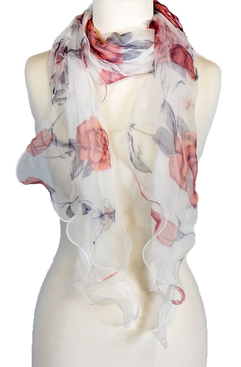 Double Layer 100% Silk, Floral Ruffle Silk Scarf, Summer scarf (wine white)