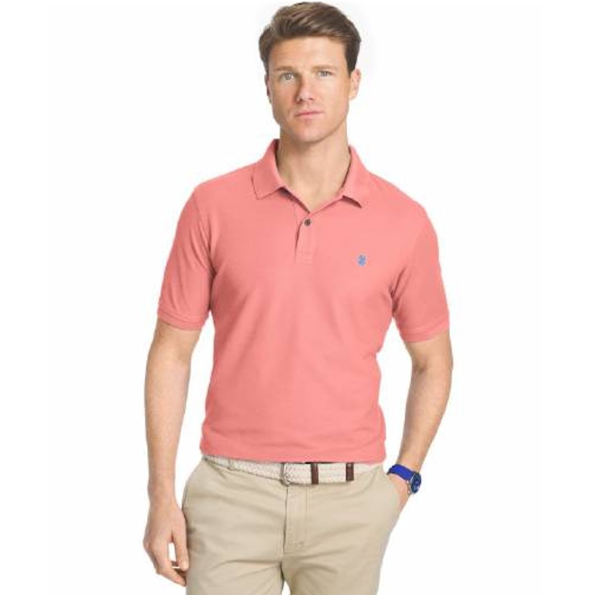 IZOD Men's Advantage Performance Easycare Plaid Short Sleeve Shirt, Rose of Sharon, Small