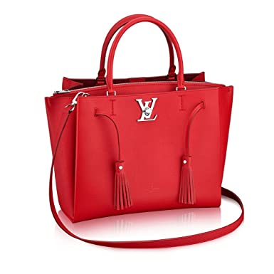 bfcadbd8f05e Amazon.com  Louis Vuitton Calfskin Leather Tote Handbag Lockme Tote Rubino  Article  M54570 Made in France  Clothing