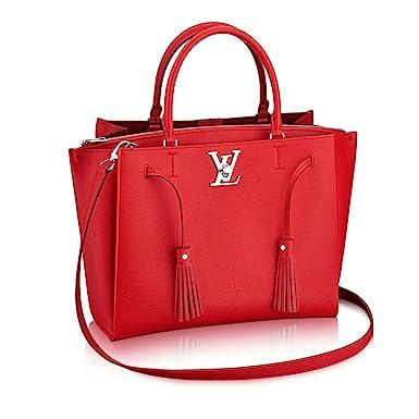 21dd49b27b2c Amazon.com  Louis Vuitton Calfskin Leather Tote Handbag Lockme Tote Rubino  Article  M54570 Made in France  Clothing