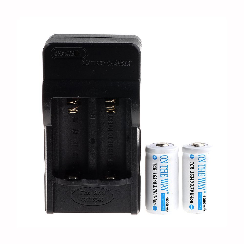 ON THE WAY®16340 1000mah 3.7V Rechargeable Li-ion Battery (Pair) with Charger Combo ON THEWAY