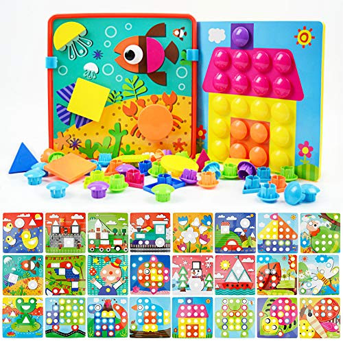 JoyGrow Button Art Toys Color and Geometry Shape 2 in 1 Matching Mosaic Pegboard Early Learning Educational Toy for Boys and - Mosaic Inch 2
