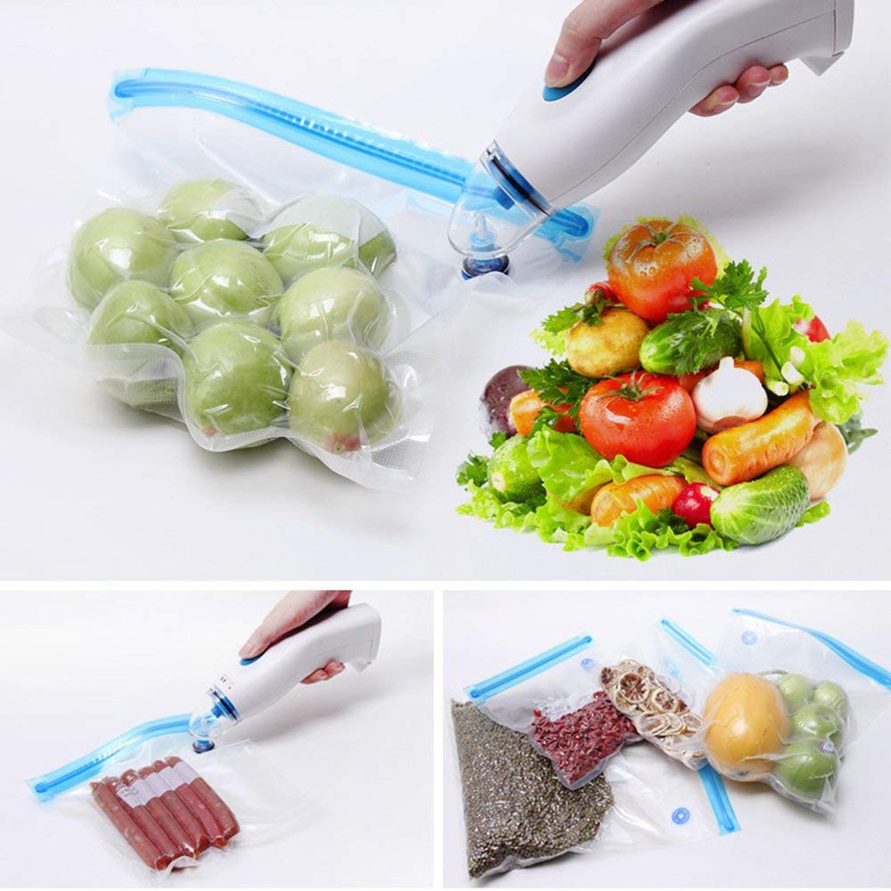 Multiple packets with vegetables and other food items in it are being sealed.
