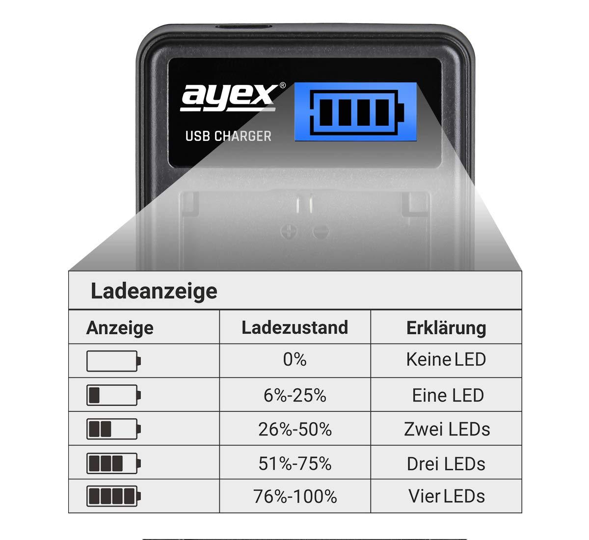 ayex USB Dual Charger Ladegerät für Panasonic DMW-BMB9 DMW-BMB9E Kamera-Akkus