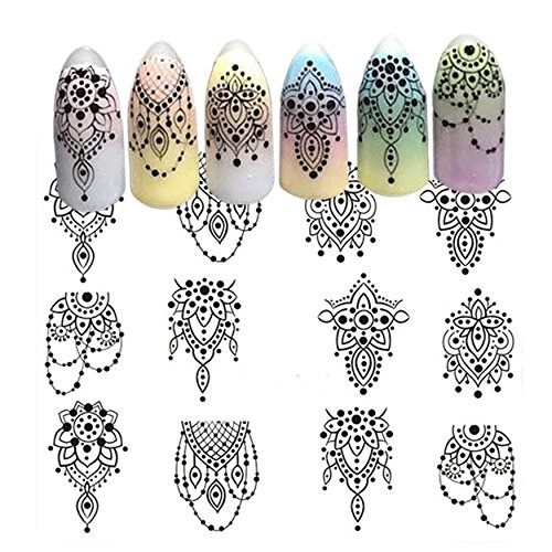Elegant Black Lace Necklace Jewelry Nail Art Stickers Water Transfer Decals Decorations DIY