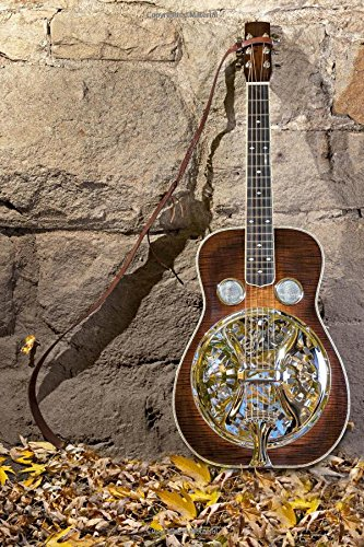 Beautiful Dobro Guitar Leaning Against a Stone Wall Musical Instrument Journal: 150 Page Lined Notebook/Diary ()
