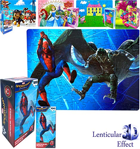 Marvel Superheroes Spider Man 3D Illusion Effect Lenticular Jigsaw Puzzles Gift Box 100 Pieces - Preschool Healthy Educational Learning Toys Games, Perfect Gifts for Kids Boys Girls Toddlers Teens