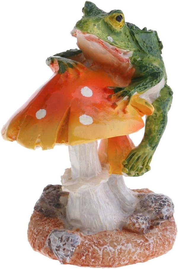 KODORIA - Adorno en Miniatura de Setas para decoración de hogar, jardín, jardín, jardín, macetas, bonsái, decoración de Manualidades, Rana y Seta Naranja: Amazon.es: Hogar