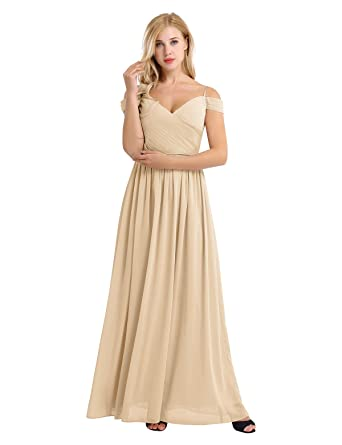iiniim Women Chiffon Off The Shoulder Pleated V Neck Bridesmaid Dress Long Party Evening Prom Gown