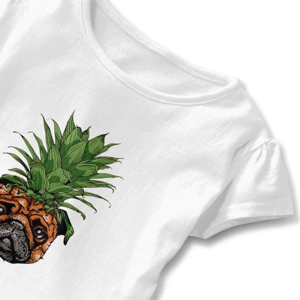 Cheng Jian Bo Pineapple Pug Toddler Girls T Shirt Kids Cotton Short Sleeve Ruffle Tee