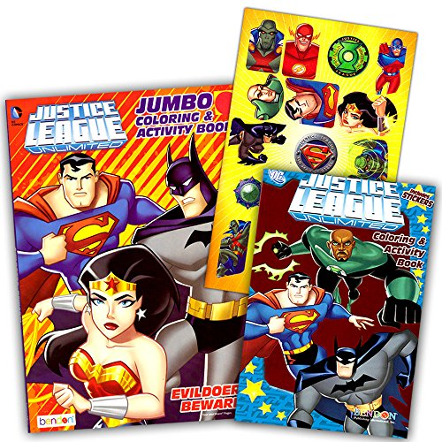 DC Comics® Justice League Coloring And Activity Book Set (Two 96 -page Books) Batman, Superman, Wonder Woman, Green Lantern, The Flash, Aquaman, and Cyborg ()