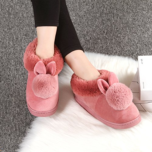 Indoor Soft Bunny Women YOWOO Slippers For Salmon Cute Warm Style Slip Plush Bedroom Non nIrdfqzrP